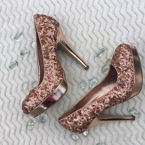 Rose Gold Steve Madden Sparkly Heels